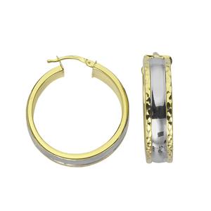 Hoop Earrings, Ss Lrg Hoop Ear/Dc Edge