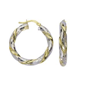 Hoop Earrings, Ss Twisted Hoop/Mirror Dc/Shiny