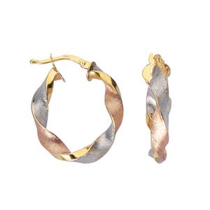 Hoop Earrings, Ss Twisted Oval Hoop/Satin/Shiny