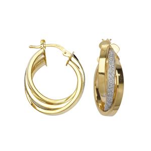 Hoop Earrings, Intertwined Glitter Lightz Hoop Ear
