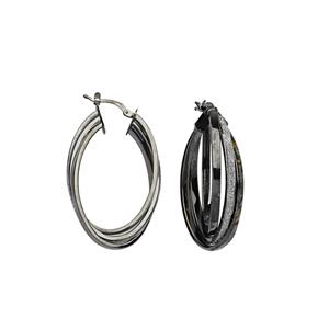 Hoop Earrings, Intertwined Glitter Lightz Lrg Hoop Ear