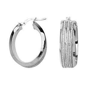 Hoop Earrings, 8Mm 3 Row Glitter Lightz Earrings