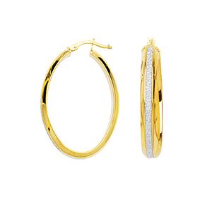 Hoop Earrings, Lrg Oval Domed Glitter Lightz Hoop Ear