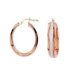 Hoop Earrings, Sml Oval Domed Glitter Lightz Hoop Ear