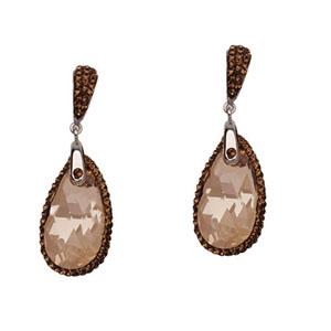 Hoop Earrings, Ss Crystal Teardrop Ear/Topaz