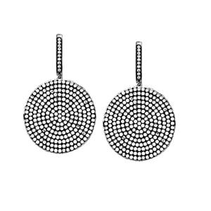 Dangle Earring, Ss Clr Cz Lrg Disk Earrings