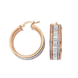 Hoop Earrings, Lightz Coll 20Mm Baguette Glitter Hoop
