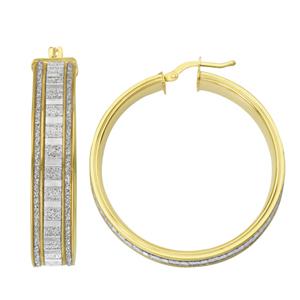 Hoop Earrings, Lightz Coll 30Mm Baguette Glitter Hoop