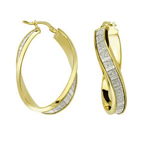 Hoop Earrings, Lightz Coll Baguette Glitter Wave Hoop
