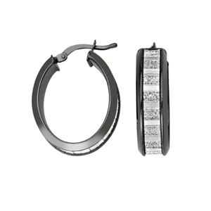 Hoop Earrings, Lightz Coll Baguette Glitter Oval Hoop