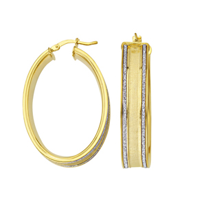 Hoop Earrings, Lightz Coll Wide Lrg Oval Hoop Ear
