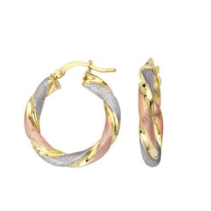 Hoop Earrings, Tri Color Twisted Hoop Earrings