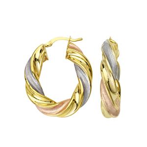Hoop Earrings, Tri Color Twisted Oval Hoop Earrings