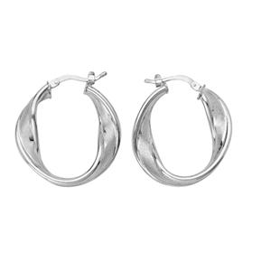 Hoop Earrings, Twisted Satin Hoop W/Shiny Border