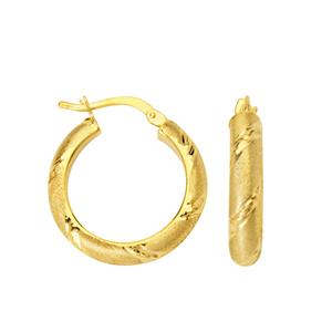 Hoop Earrings, 4X15 Mm Hoop Earring Dc Stripe Accent