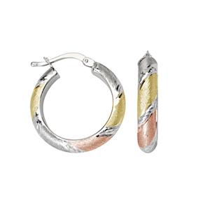 Hoop Earrings, Tri Color 4X15Mm Hoop E/R Dc Stripe Acc