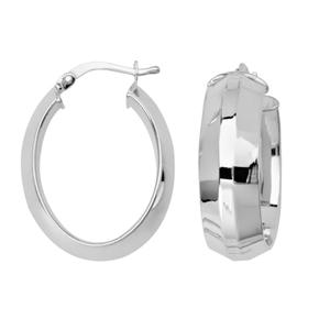 Hoop Earrings, Knife Edge Oval Hoop Earrings