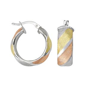 Hoop Earrings, Tri Color Satin/Hp Finish Rnd Shape Hoop