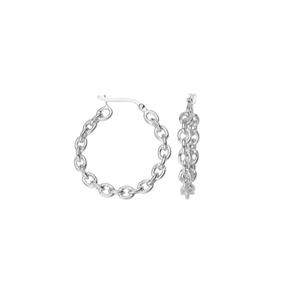 Hoop Earrings, Oval Rolo Link Design 30Mm Hoop Earrings
