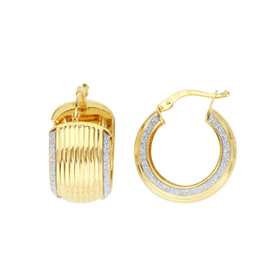 Hoop Earrings, Lightz Coll 10X14Mm Ribbed Baby Hp