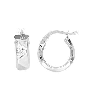 Hoop Earrings, Zig Zag Tube 10Mm Baby Hoop Earrings
