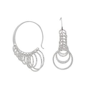Hoop Earrings, Ss Fancy Hoopw/Dangle D/C Circles