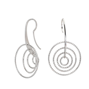 Hoop Earrings, Ss 28.7M Fancy Dangle W/ 4 D/C Circles