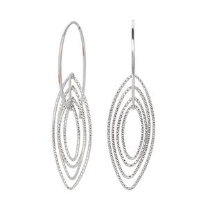 Hoop Earrings, Ss 30.8M Fancy Dangle W/ 4 D/C Marquise