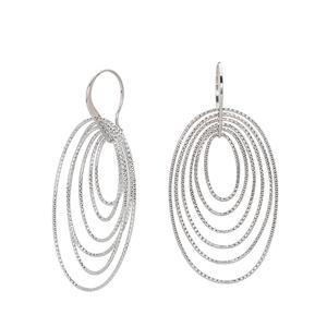 Hoop Earrings, Ss 20.3M Fancy Dangle W/ 6 D/C Ovals