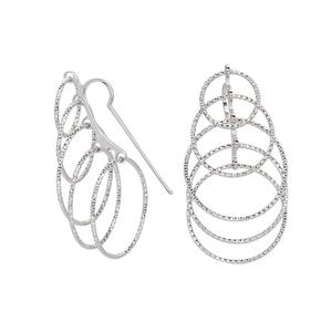 Hoop Earrings, Ss Fancy Wire Earr W/5 Grad D/C Circles