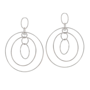Hoop Earrings, Ss D/C Multi Circle Dangle Earrings