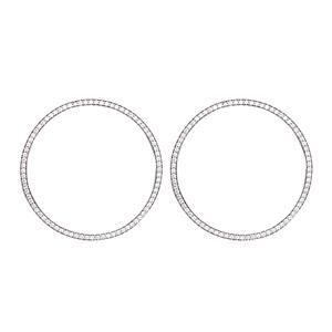 Silver Earring, 32Mm Open Cz Circle Post Earrings