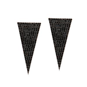 Silver Earring, Jet Cz Triangle Post Earrings