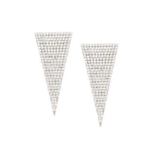 Silver Earring, Clear Cz Triangle  Earrings