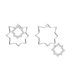 Silver Earring, Clear Cz  Star Ear W/ Star Shaped Jacket
