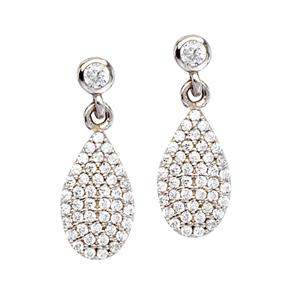 Silver Earring, Pear Shaped Cz Dangle  Earrings