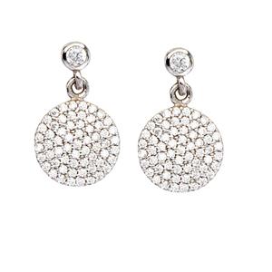 Silver Earring, Clear Cz Dangle Disk Ear