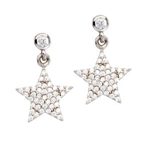 Silver Earring, Clear Cz Dangle Star Shaped Ear