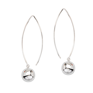 Threader Earring, Long Wire 12Mm Dangle Ball Earrings