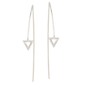 Threader Earring, Fancy Cz Triangle Long Wire Earrings