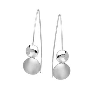 Threader Earring, 2 Puffed Grad Disk Long Wire Earrings