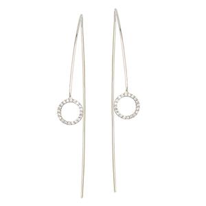 Threader Earring, Fancy Cz Circle W/ Long Wire Earrings