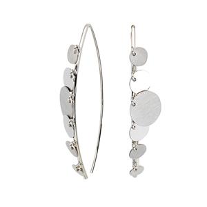 Threader Earring, Fancy Wire W/ Dangle Disks Earrings