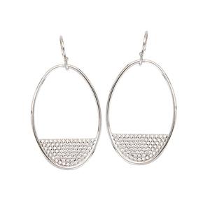 Hoop Earrings, Dangle Oval Cz Earrings