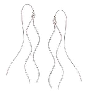 Threader Earring, D/C And Pol Waved Tube Threader Earrings