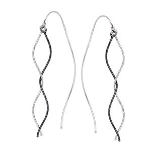 Threader Earring, Blk/W D/C And Pol Wave Tube Threader Ear