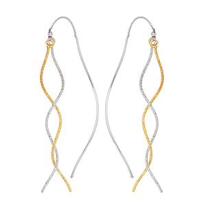 Threader Earring, Y/W D/C And Pol Waved Tube Threader Ear