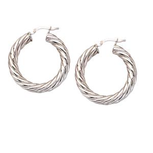 Hoop Earrings, 20Mm Thick Twisted Tube Hoop Ear