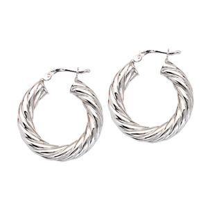 Hoop Earrings, 15Mm Thick Twisted Tube Hoop Ear