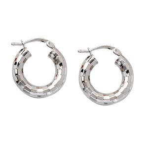 Hoop Earrings, Brick Design Hoop Earrings
